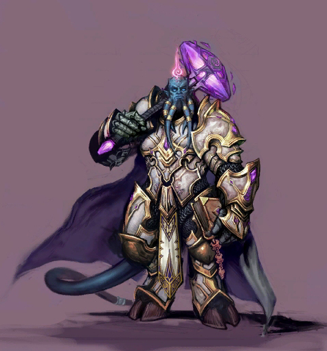Draenei paladin vindicator with the justicar armor and a hammer of