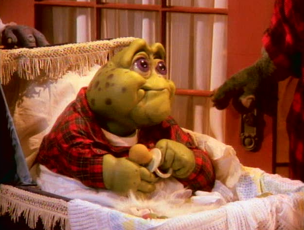 Aubrey Molehill  switched at birth with Baby Sinclair Dinosaurs Tv Show Grandma