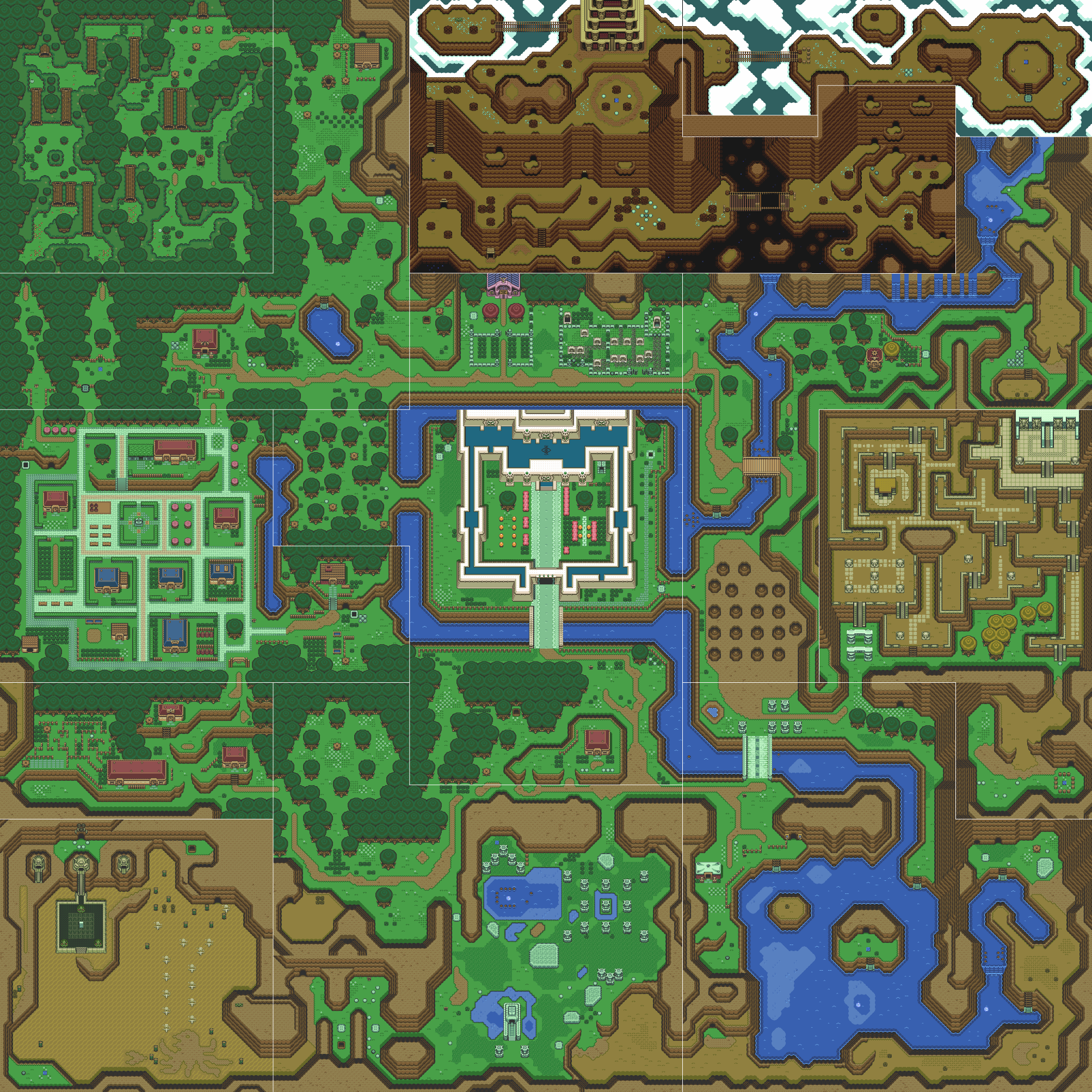 The overworld map of Hyrule 's Light World from The Legend of Zelda: A