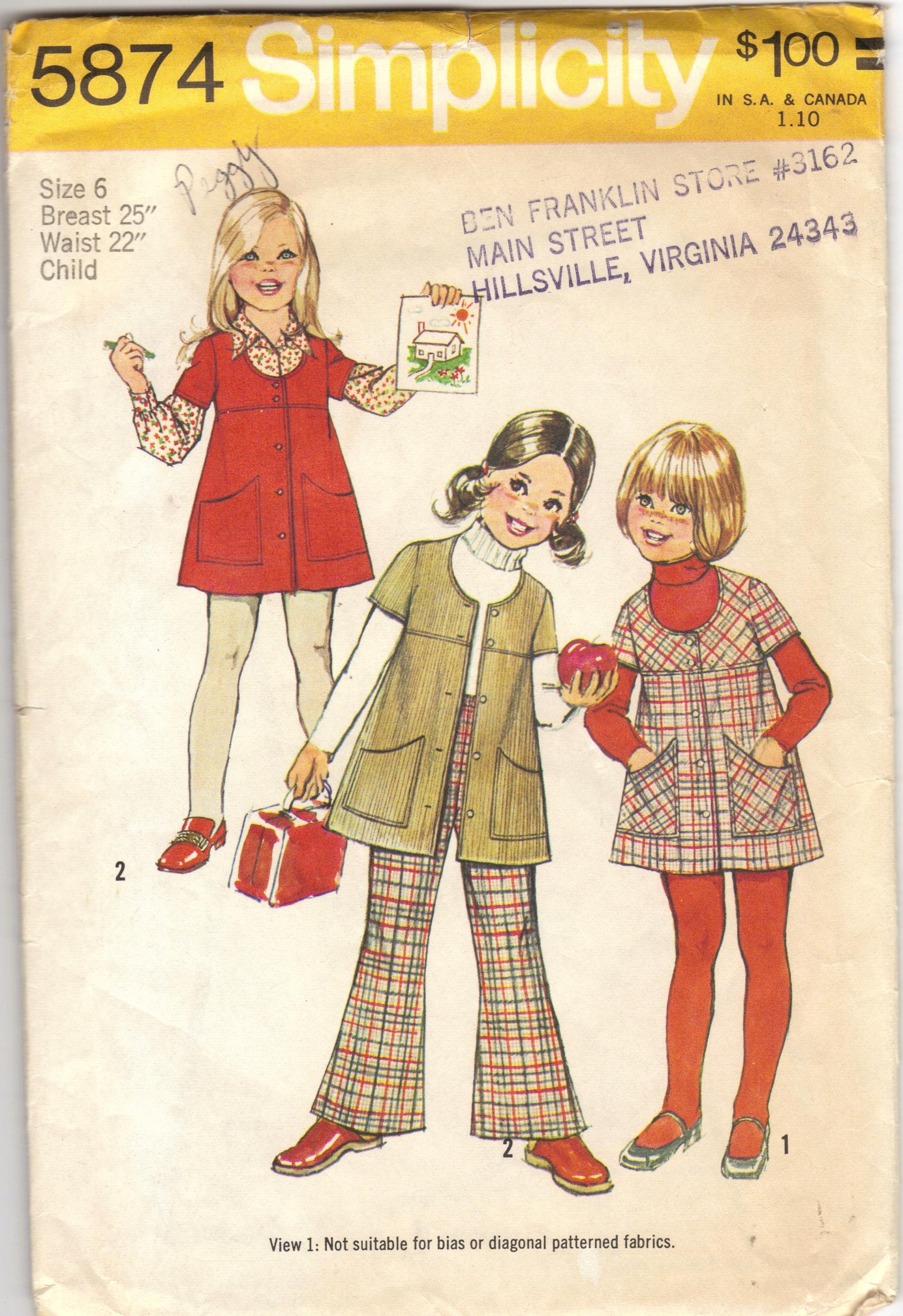Simplicity 5874 A Vintage Sewing Patterns