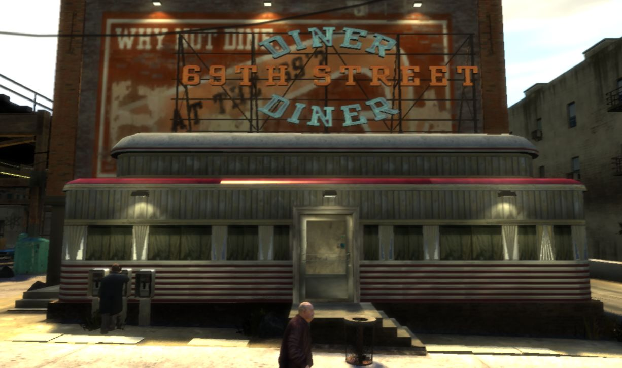 The 69th street diner gta wiki the grand theft auto for 50 s diner exterior