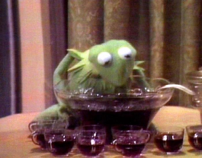 Muppets imbibing alcohol - Muppet Wiki Kermit Drinking Picture