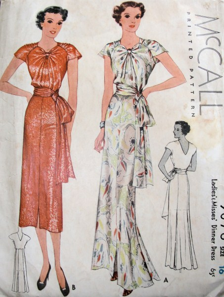 1930s Schiaparelli dinner dress pattern - McCall 9076
