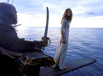 No longer useful to Barbossa, Elizabeth is forced to walk the plank