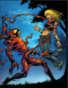Carnage (Symbiote) (Earth-1610) and Gwendolyne Stacy (Earth-1610) from Ultimate Spider-Man Vol 1 62 001.jpg