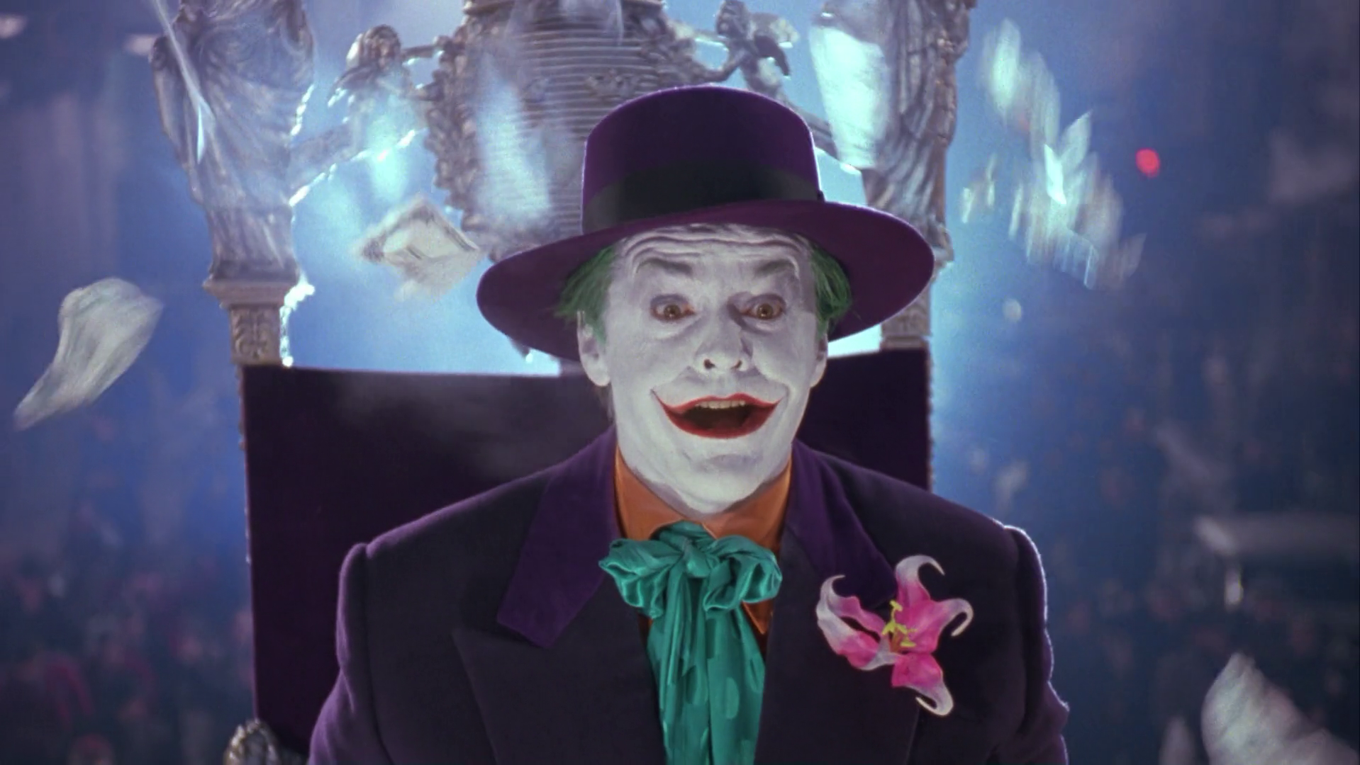 The Joker while riding on his parade during the festival, gives away ... Joker Smile Png