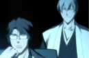 Aizen and Gin watch Ichigo battle Byakuya.png