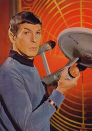 USS Enterprise three foot model held by Leonard Nimoy