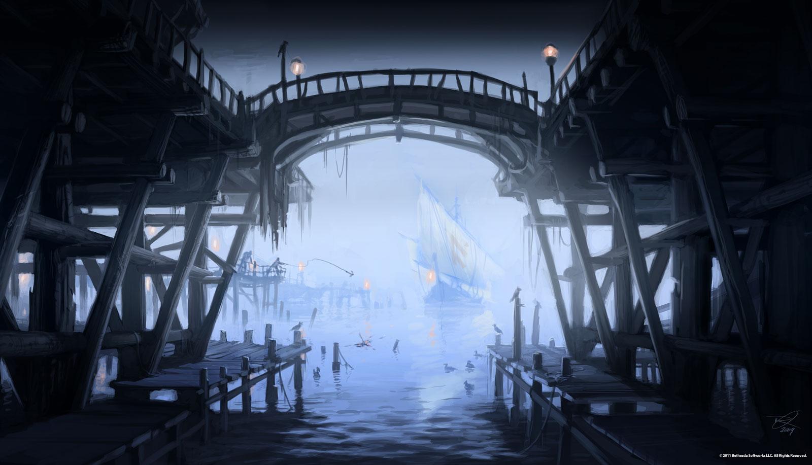 Riften pier concept art for Skyrim fish hatchery