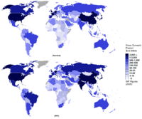 Gdp nominal and ppp 2005 world map single colour