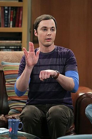 S5EP17 - Sheldon signing the Spock symbol