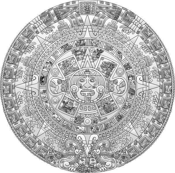 Dibujos para colorear del calendario azteca - Imagui