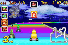 Top 5 Rainbow Road Tracks in Mario Kart Rainbow_Road_-_Princess_Peach_Racing_-_Mario_Kart_Super_Circuit