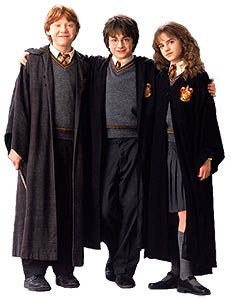 The trio wearing wizard robes