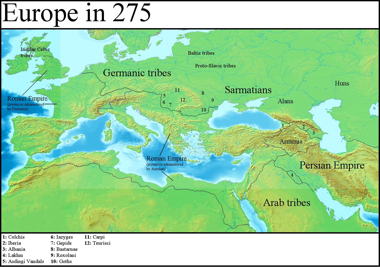 Evropa na konci Aurelianovy vlády