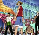 Monkey D. Luffy, Roronoa Zoro, Sanji und Tony Tony Chopper gegen den Franky-Clan
