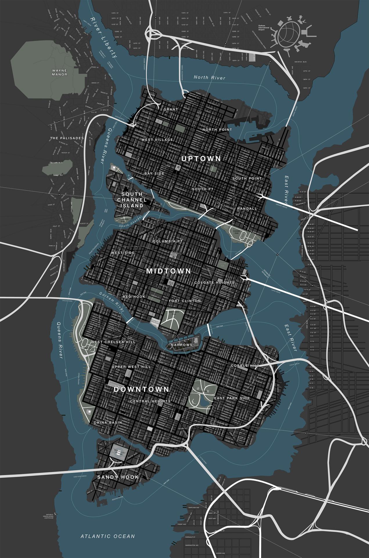 Gotham City Map Canonical Map of Gotham