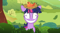 Twilight Sparkle with a bird's nest on her head S2E03