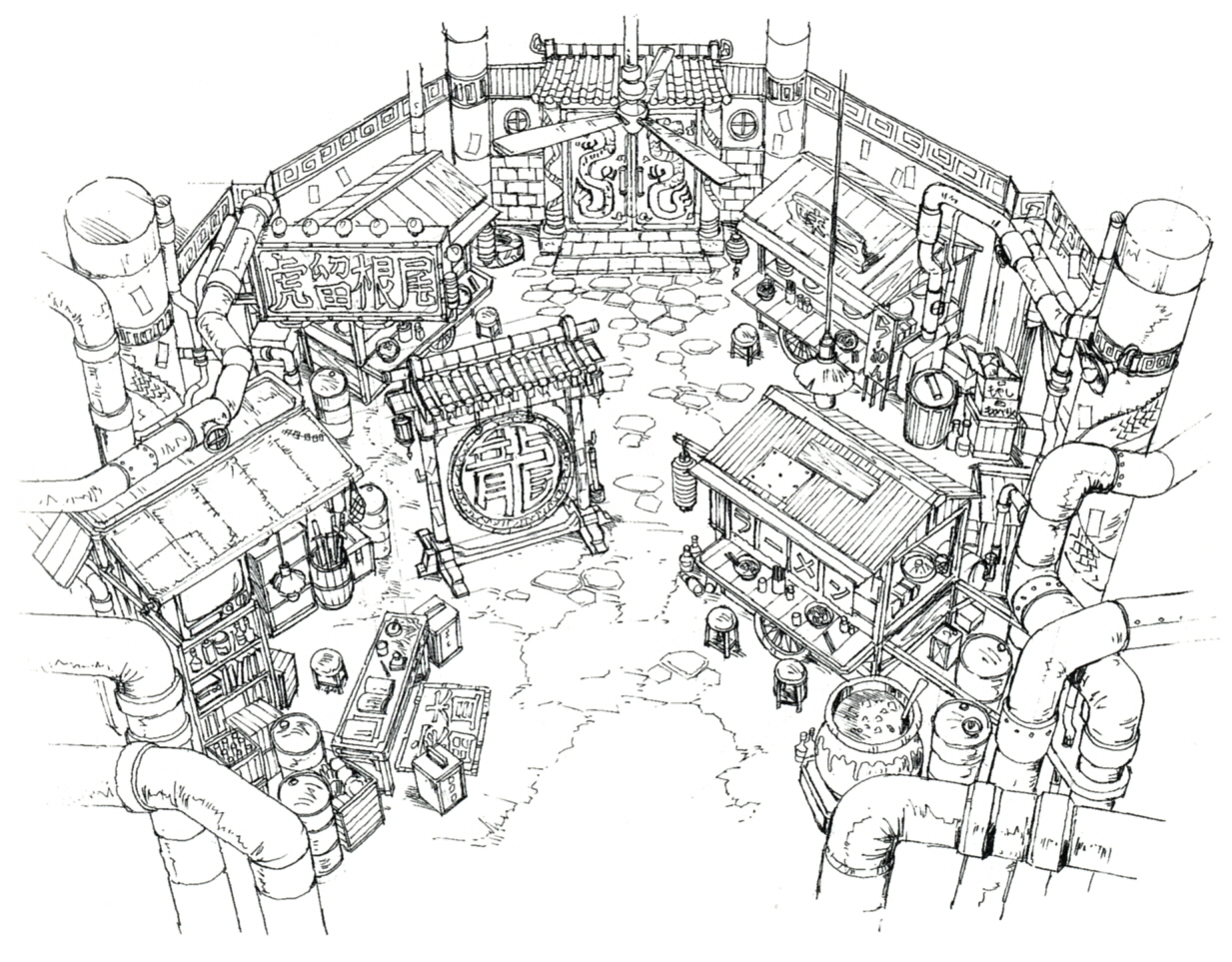 Image don corneo mansion ff7 art the final for Final fortress blueprints