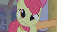 Apple Bloom being shaken by Applejack S1E09