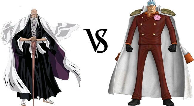 Genry  sai Shigekuni Yamamoto vs  Sakazuki AkainuAokiji Vs Akainu