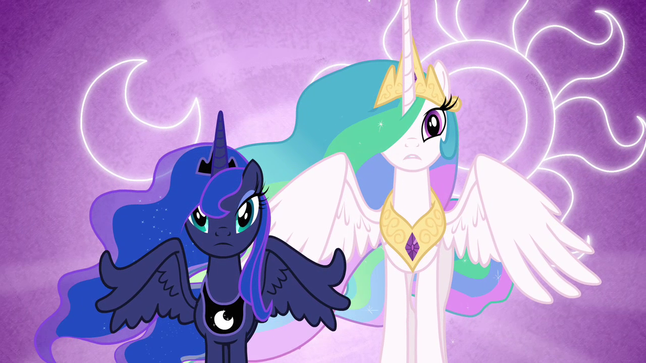 Luna And Celestia With Their Cutie Marks In The Background ...