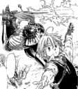 Gilthunder getting behind Meliodas.png