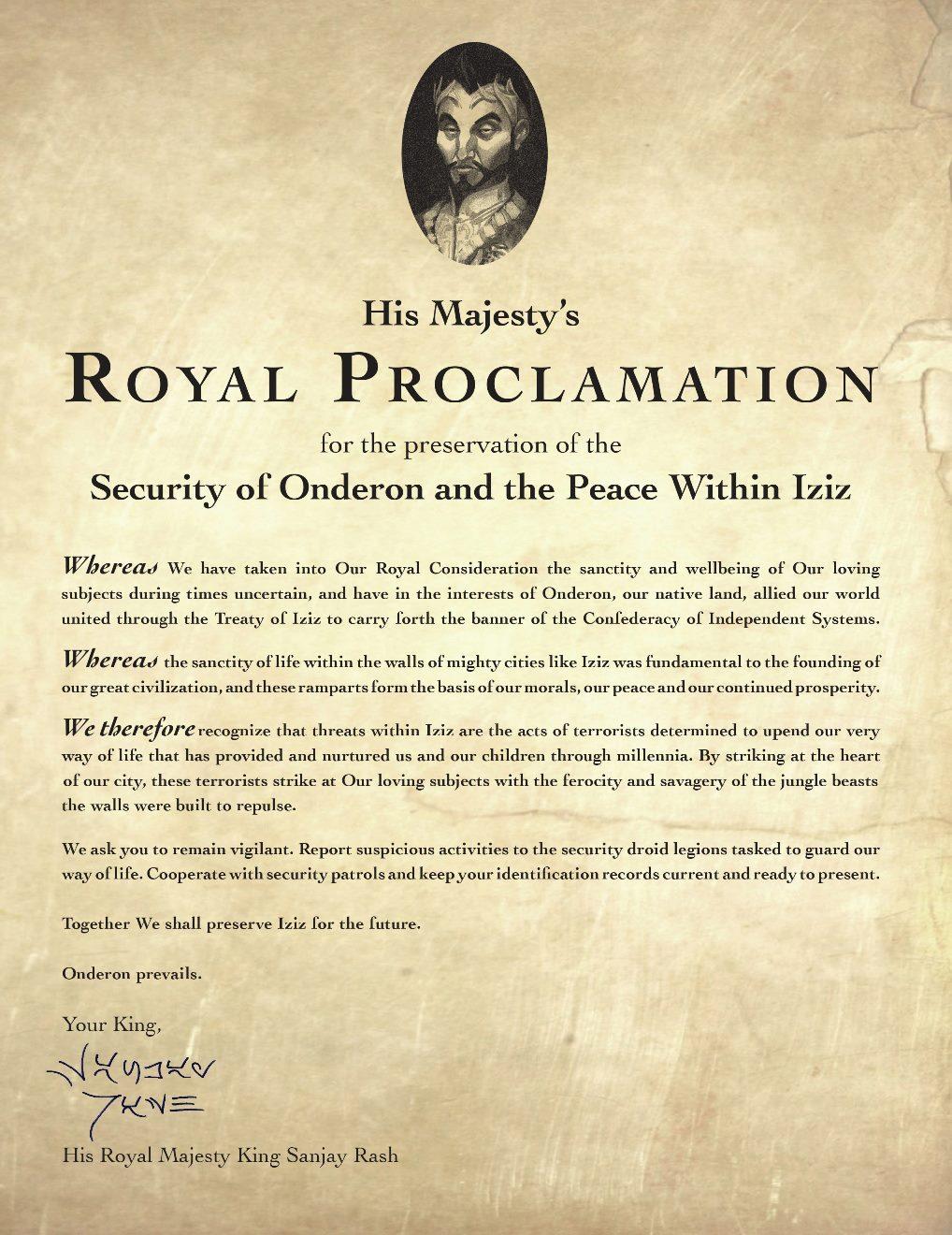 Sanjay Rash S Royal Proclamation Wookieepedia The Star