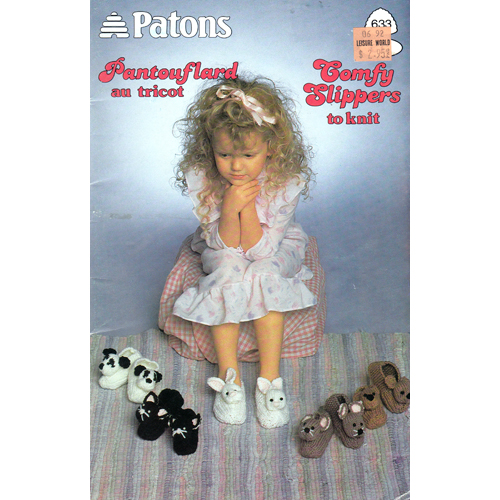 Patons Knitting Pattern Archive : Patons No. 633 Comfy Slippers to knit & crochet - Knitting and Crochet Pa...