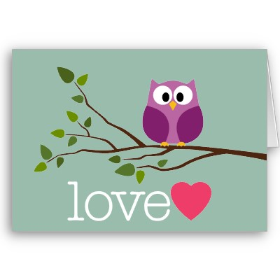 Image Valentines Day Cute Cartoon Owl And Heart Card