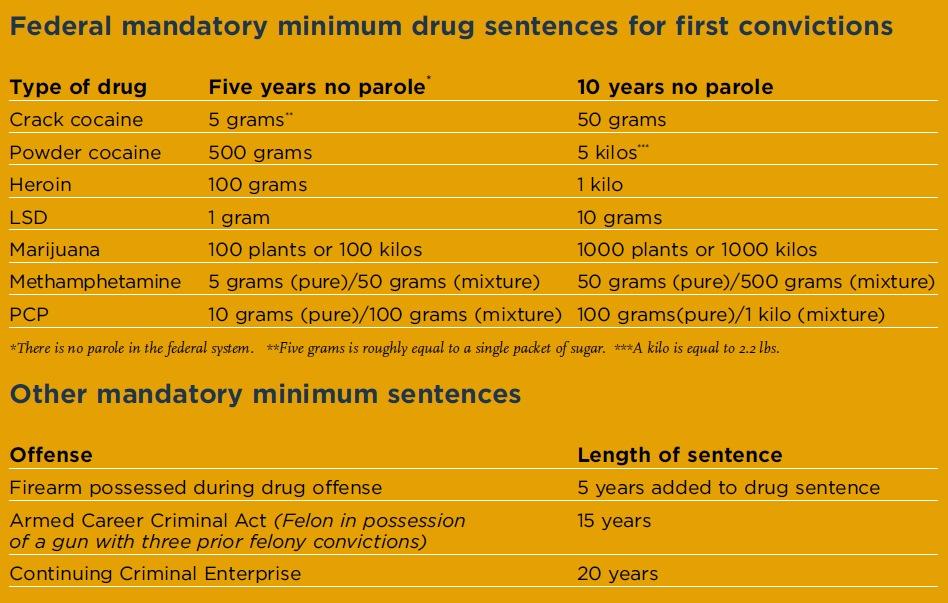 the mandatory minimum drug sentences should be eliminated The effect of mandatory minimum sentencing to try and eliminate race affirm a drug sentence below the mandatory minimum unless the.