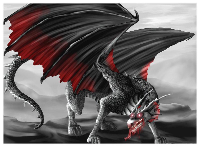 Fire Breathing Black Dragons The Dark Vampire Dragon By O