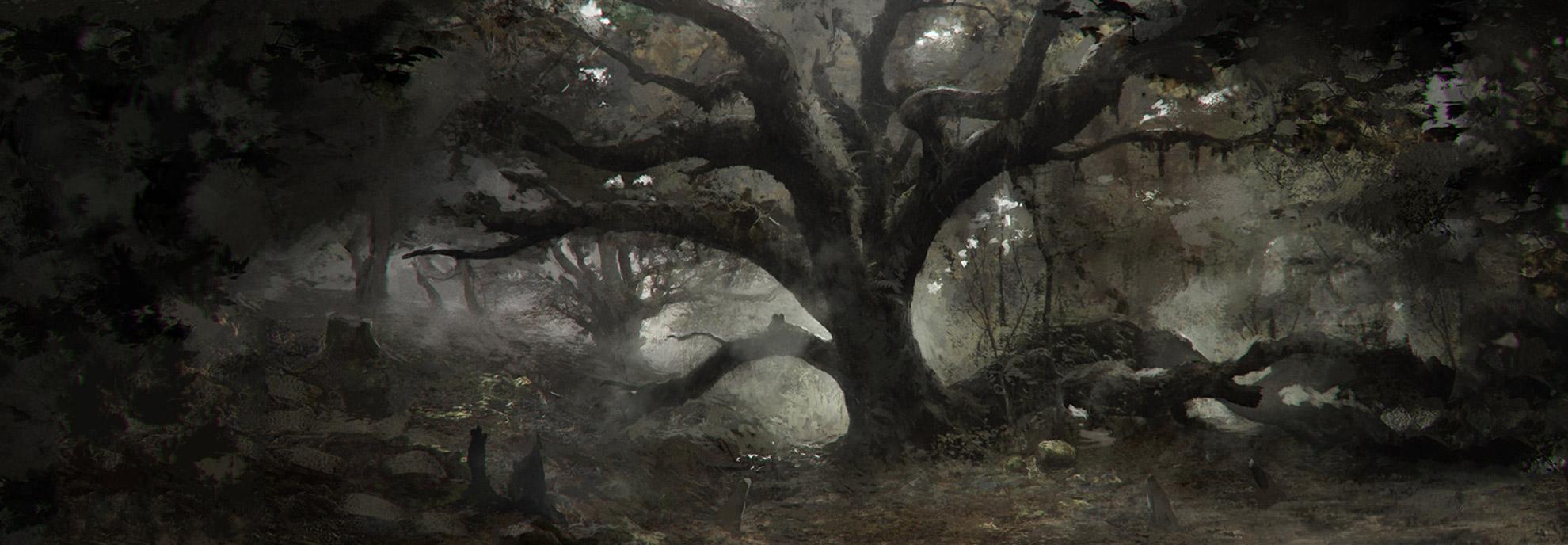art dark car forest - photo #1