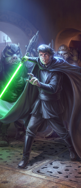 Non canon version of luke using his lightsaber to persuade jabba to