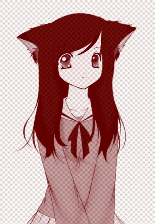 девушка и кот аниме: