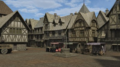 Market Stalls 16245775-medieval-or-fantasy-town-square-and-market-place-3d-digitally-rendered-illustration