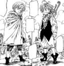 Meliodas and Cain preparing for their Byzel Fight Festival battle.png