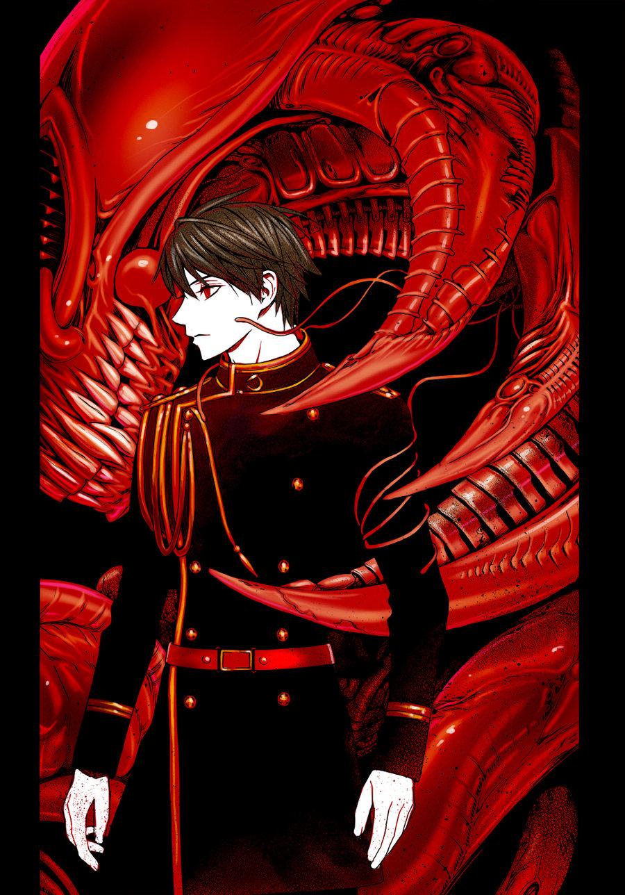 Tsukune com o Sangue do vampiro primordial Alucard