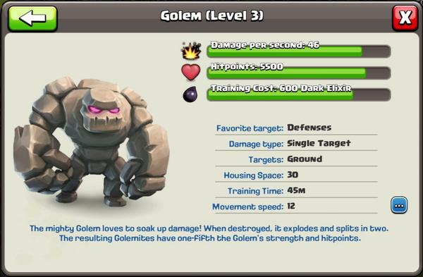 Golem - Clash of Clans Wiki | 600 x 393 png 212kB