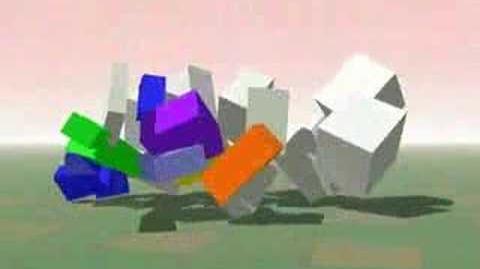 Bulldozer Topples Blocks
