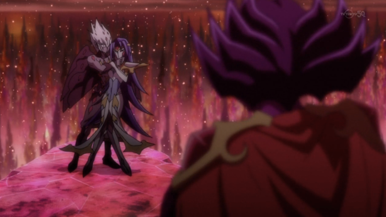 Vector holding Marin hostage as Nash watches on Yugioh Zexal Vector