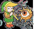 Artwork de Link tocando la Grabadora frente a Digdogger.png
