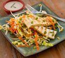 Salada de repolho cozido com Tofu e vinagrete de limão e soja