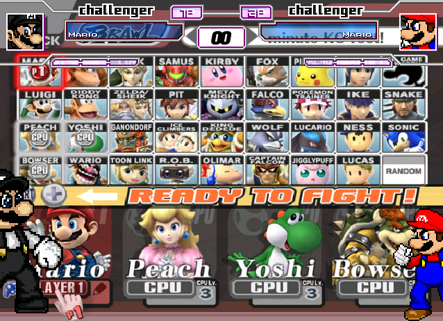 Super Smash Bros Brawl Fighter Select Screen The Mugen
