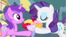 Amethyst Star giving a bouquet of flowers to Rarity S4E13 (1).png