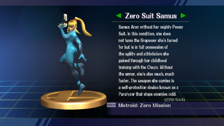 Metal Suit Samus The Zero Suit Samus Trophy