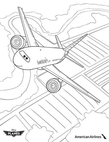 delta airlines coloring pages   Image - American-Airlines-Plane-in-Disney-Planes-Coloring ...