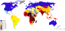 Percentage population living on less than $2 per day 2009.png