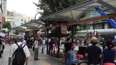 Godzilla 2016 shooting in Katama station
