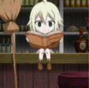 Young Mavis reading a book.png